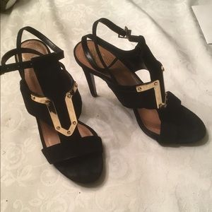 Vince Camuto blk suede evening shoes 10
